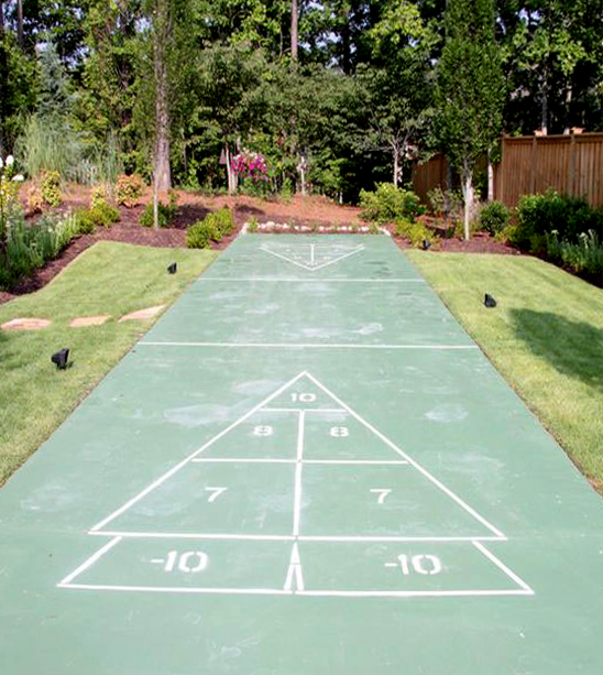 Custom Shuffleboard Court designed by Elite Landscapes