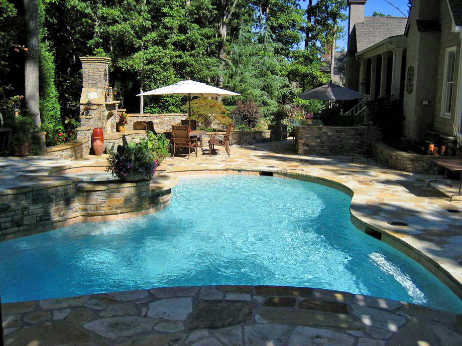 Outdoor Living Pool Fireplace Hot Tub Landscaping Atlanta