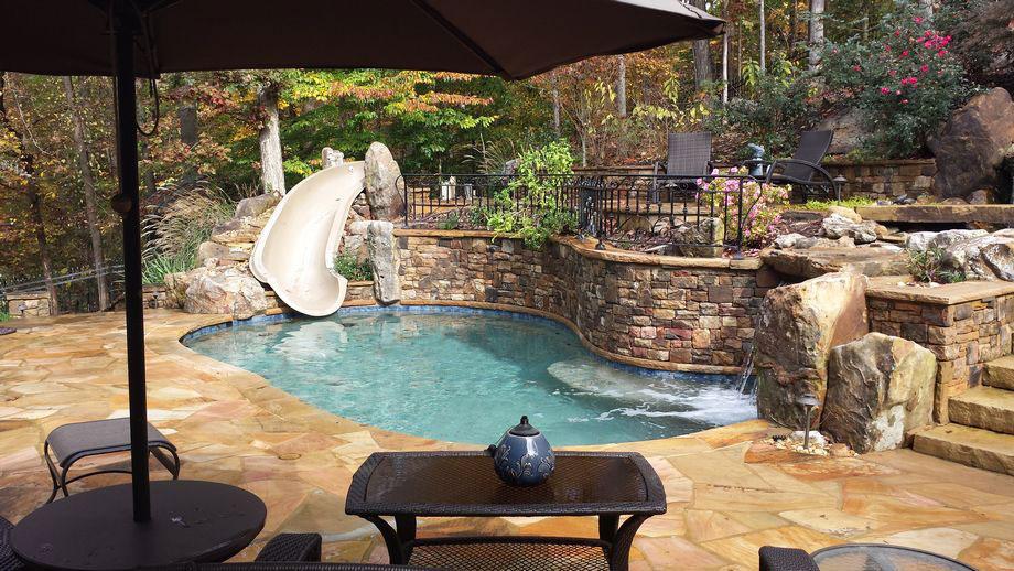 Outdoor Living Pool Waterfall Slide Landscaping Atlanta