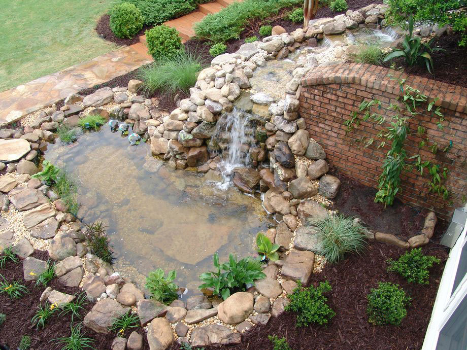 Waterfall Stone Amp Brick Walls Stairs Pond Landscaping