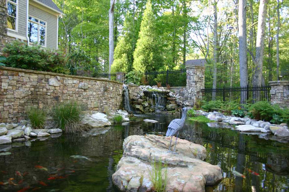 Waterfall stone walls pond koi landscaping atlanta for Stone koi pond