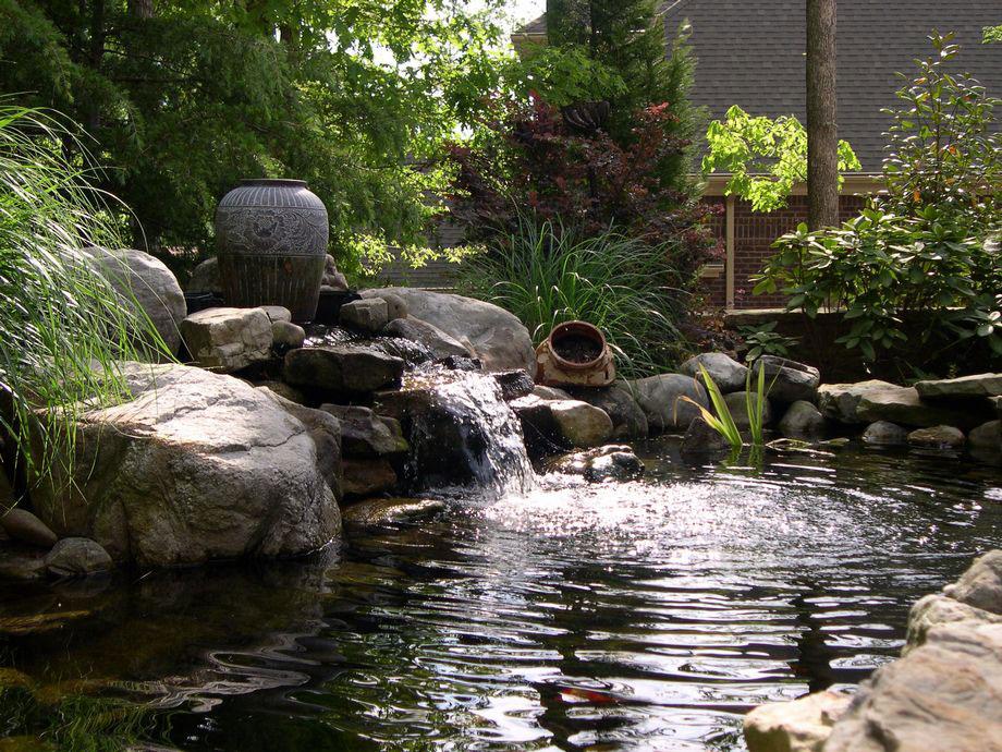 Waterfall Stream Pond Boulders Landscaping Atlanta