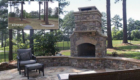 before after stone patio fireplace