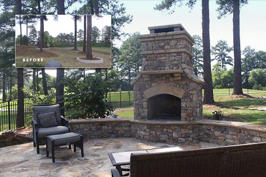 before after stone patio fireplace & before after stone patio fireplace - Landscaping Atlanta