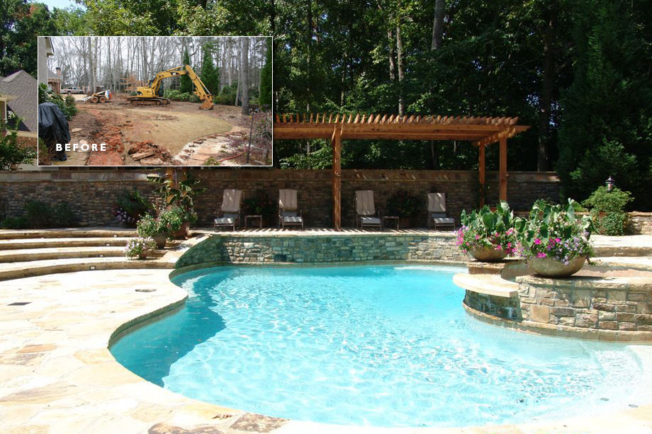 Before After Stone Wall Gate Pool - Landscaping Atlanta