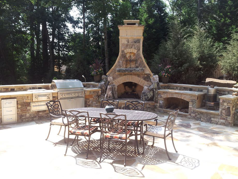 Outdoor cooking station fireplace landscaping atlanta for Outdoor cooking station ideas