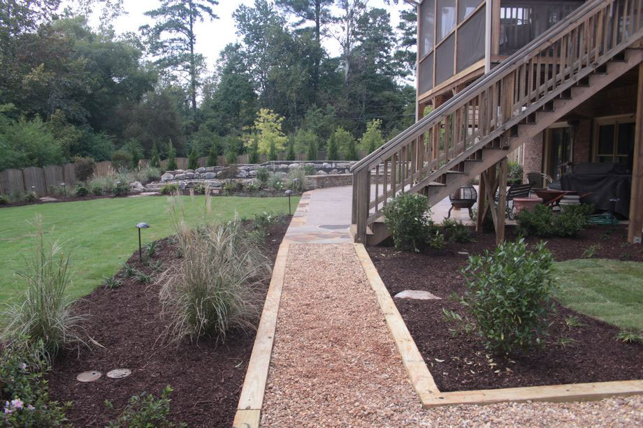 Stone Gravel Path Wood Borders Landscaping Atlanta