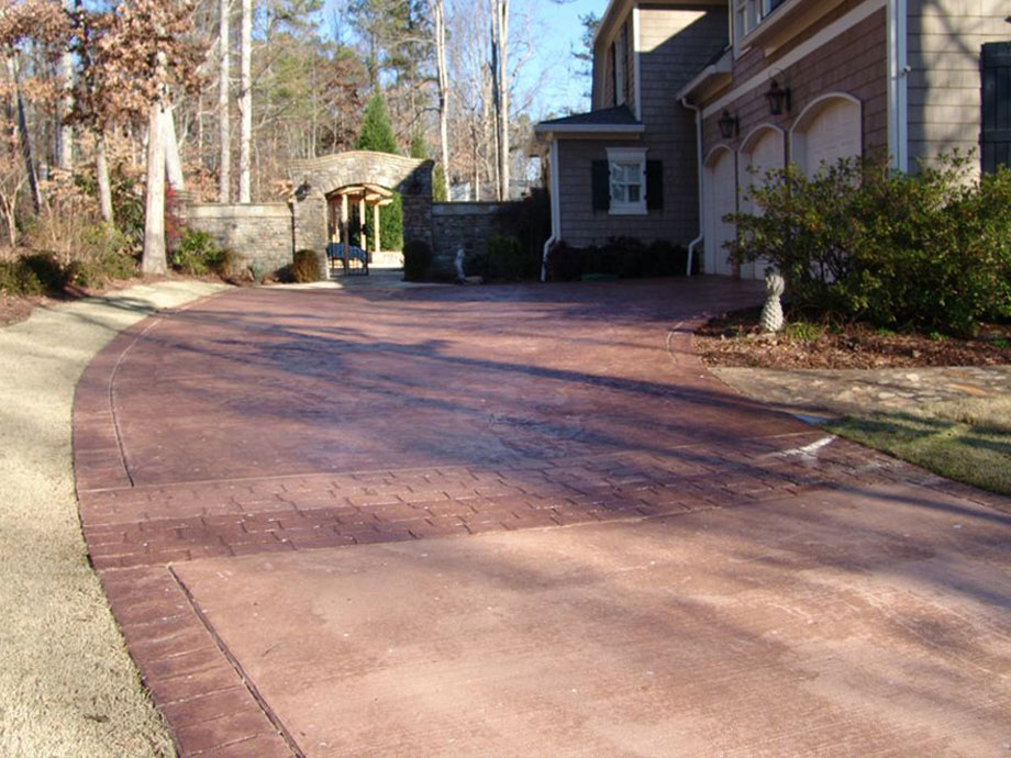 Texture Pressed Concrete Driveway Landscaping Atlanta