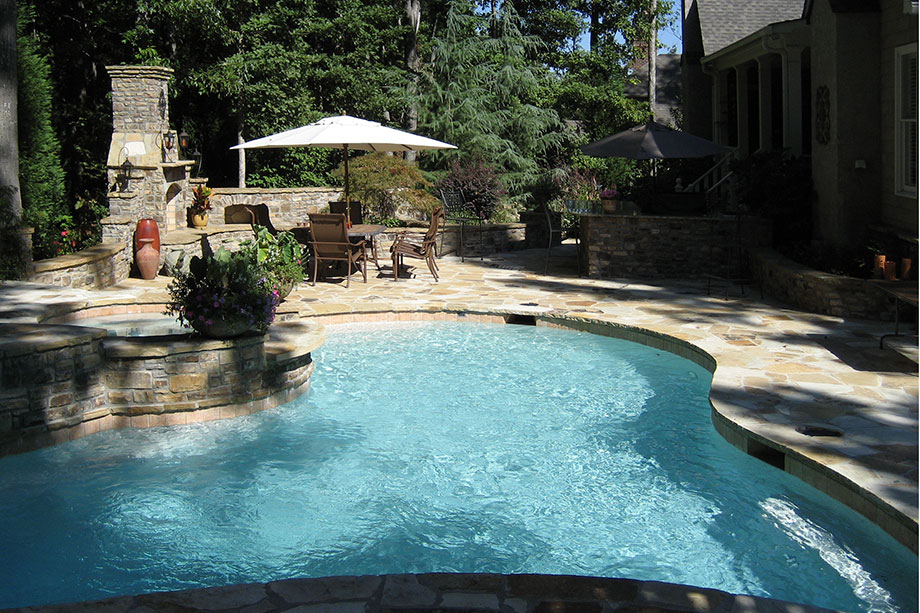 Hardscapes Gallery. Hardscape_Wall Stone Fireplace Patio