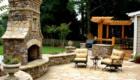 Hardscape_Wall Stone Fireplace Patio